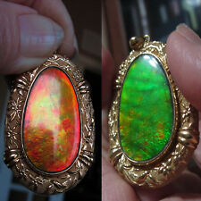 Huge 25 CT Ammolite 18K Gold Necklace Pendant 22.7 Grams AGS Reduced!