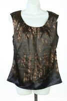 Tahari Shirt Top Blouse Brown Black Multicolor Lined Sz Medium M