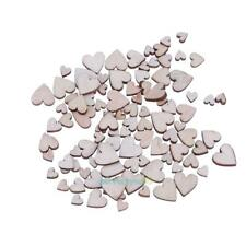 100pcs Mixed Heart Shaped Wood Chips DIY Handmade Accessories Decoration Decal