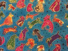 RPG268D Laurel Burch Puppy Dogs Doggies Groovy Metallic Cotton Quilt Fabric