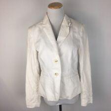 Banana Republic Women's White Preppy Summer Linen Blazer Jacket Size 4