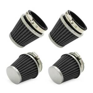 4x Universal 52mm ATV Engine Inlet Cold Air Intake Motorcycle Air Filter Cleaner