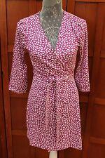 Diane von Furstenberg DVF New Julian Two Mini Pink White Wrap Dress 10 M L $398