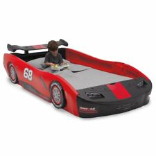 Twin Bed Hot wheels Red Sports Race Car Nascar Toddler girl valentines zoom