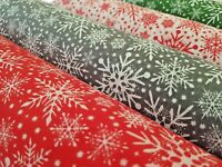 CHRISTMAS (XMAS) SNOWFLAKES - PRINTED POLY COTTON FABRIC