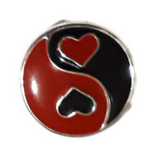 Noosa Ginger Style Snap Button Chunk Charms Silver Tone 'YIN YANG HEARTS'  20mm