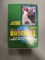 1991 Score Baseball Unopened Factory Sealed Wax Pack Box w/ 36 Packs Series 1