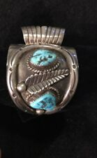 Navajo Turquoise Sterling Watch Cuff 86g