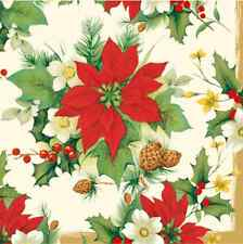 Christmas 20 Paper Lunch Napkins POINSETTIA BOUQUET Red Green Winter 33x33cm