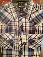 Ely Cattleman 1878 Men's BLUE Plaid 100% Premium Cotton Shirt Long Sleeve