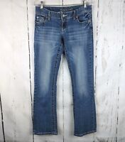 MAURICES Bootcut Jeans Stretch 3/4 Medium Wash Distressed Womens Low Rise