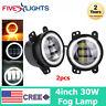 2X 4inch 60W Halo LED Fog Light Driving Working Off-Road Lamp For Jeep JK CJ TJ