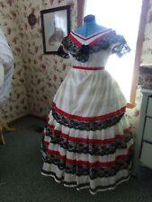 "Victorian Clothing Civil War Cream Ballgown Evening Dress Costume Used 33-36""W"