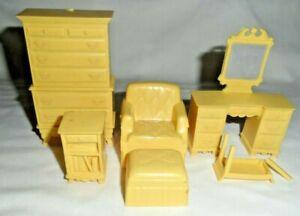 Marx Vintage 1950s Dollhouse Furniture Bedroom Set MARX Yellow Dresser Stool