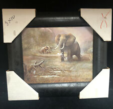 Ruane Manning  Elephants Print Safari Scene Wall Art. NEW (SH15)