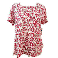 Kim Rogers Womens Petite Pullover Top Size PXL Red White Short Sleeves