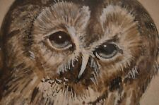 Great Grey Owl picture in wood frame, w glass by M. J. Neeh 13 x 11 matted too.