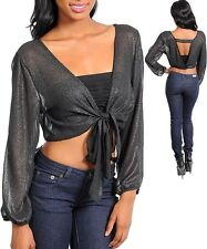 Black long sleeve Shrug w/open strap back & tie. Medium & Large.