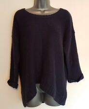Size 16 Jumper INTERNACIONALE Navy Blue 3/4 Sleeves Open Back Casual Ladies