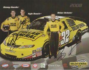 2008 Braun Racing Dollar General signed NASCAR Hero Card BUSCH HAMLIN VICKERS
