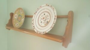 Ercol wall plate rack. Rare single tier. Solid elm.