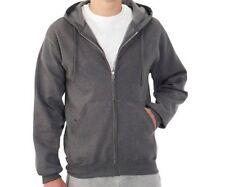 Fruit of the Loom Men's Fleece Full Zip Hood Charcoal Gray Size Small (34/36)