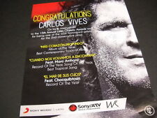 Carlos Vives 6 Grammy Nominations 2014 Promo Poster Ad mint condition