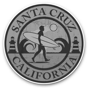 2 x Vinyl Stickers 10cm (bw) - Santa Cruz California Surf Beach  #40096