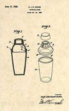 Official Art Deco Cocktail Shaker US Patent Art Print- Antique Vintage Mixer-292