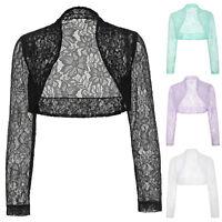 HOT Womens Cropped Long Sleeve Lace Shrug Ladies Bolero Bridal Open Cardigan Top