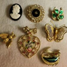 Vintage Jewelry LOT Brooch Pins Butterfly Bee Cameo Heart Fish Horseshoe
