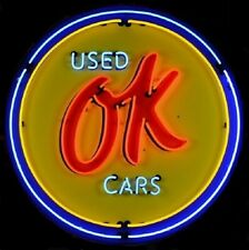 "Chevrolet Ok Used Cars Neon Sign - Chevy Dealer - Gm - Massive 36"" - Metal Can"