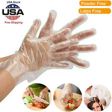 100/200pcs Clear PE Gloves Powder Free Plastic Food Service Safety Work Sanitary