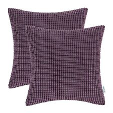 2pcs Deep Purple Cushion Cover Pillow Case Corduroy Corn Striped Home Decor 50cm