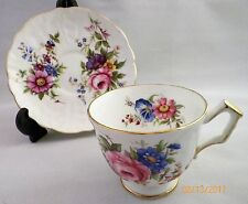 Aynsley Crocus Shape Floral Footed Cup & Saucer