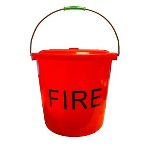 15 LITRE RED PLASTIC FIRE BUCKET with LID and HANDLE caravan motorhome camping