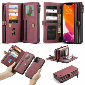For iPhone11 12 Pro Max Magnetic Leather Stand Card Pocket Removable Wallet Case