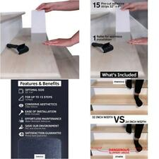 "32""x4"" Non-Slip Stair Treads Tape (15-Pack) - Clear Anti-Slip Indoor Strips"