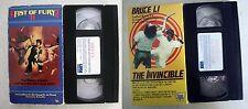 VHS lot Fists of Fury II 2 + Bruce Li The Invincible: Video Gems martial arts