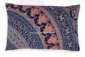Indian Elephant Mandala Cotton Pillow Case Sham Cushion Cover Ethnic Bohemian