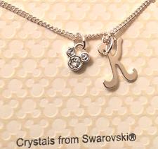 7236d3be8 Disney World Mickey Icon Swarovski Crystal Initial Letter K Silvertone  Necklace