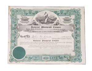 1919 Universal Phonograph Company Stock Certificate #227. Rare. Prag Collection.