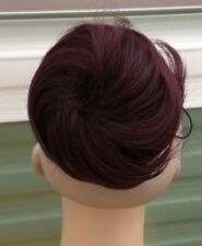 dark red fake pony tail bun elastic pull string hair piece extension scrunchie n