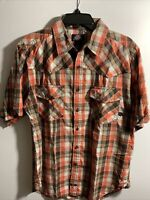 DICKIE'S MEN'S PLAID SHORT SLEEVE BUTTON FRONT SHIRT SIZE LARGE