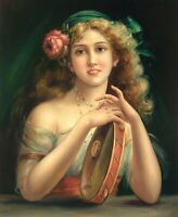 """24""""x 20"""" Oil Painting on Canvas, Young Lady with a Tambourine, Hand Painted"""