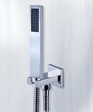 Bathroom Modern Brass Square Hand Held Shower set With brass Wall bracket & Hose