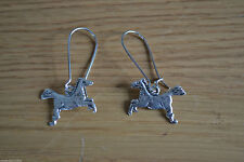 BRAND NEW * TIBETAN PEWTER HORSE PONY EARRINGS IN PRETTY ORGANZA GIFT BAG