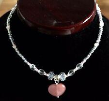 Baby Toddler Necklace (2-4 Years) Heart Quartz Pink Beaded Handmade Princess