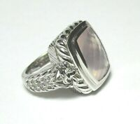 JUDITH RIPKA Sterling Silver Ring w Pink Mineral and CZ 11.5 grams size 6 1/4