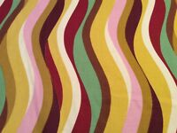 Designers Home Decor Multi-color, Gold Bckground Vertical Wavy Fabric